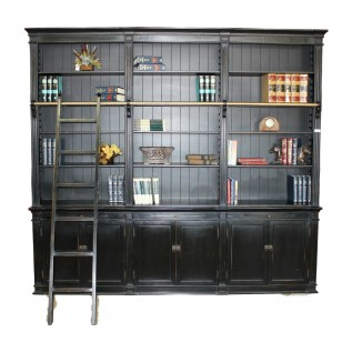 Black Large Bookcase With Ladder Sd 108