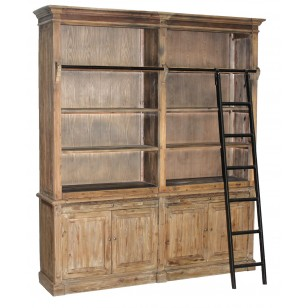 Pine Bookcase with Iron Ladder CT7434