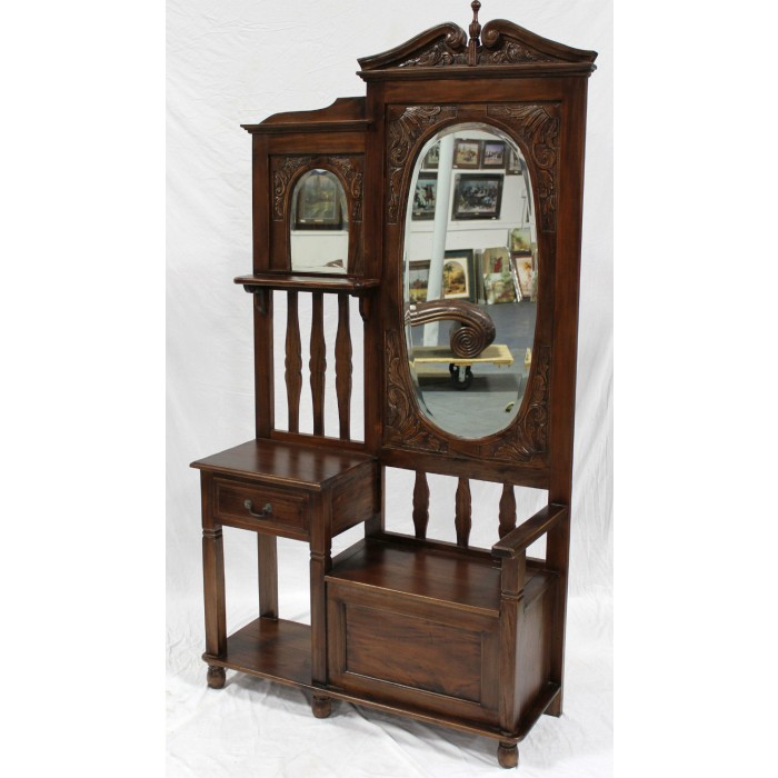 Hall Stand With Seat And Oval Mirror In 25 Brown Mahogany
