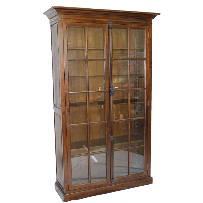 brown bookcase with glass doors h