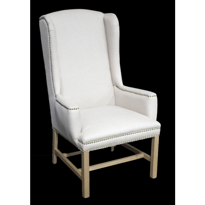 IC170 Linen wing back chair tall back dining chair