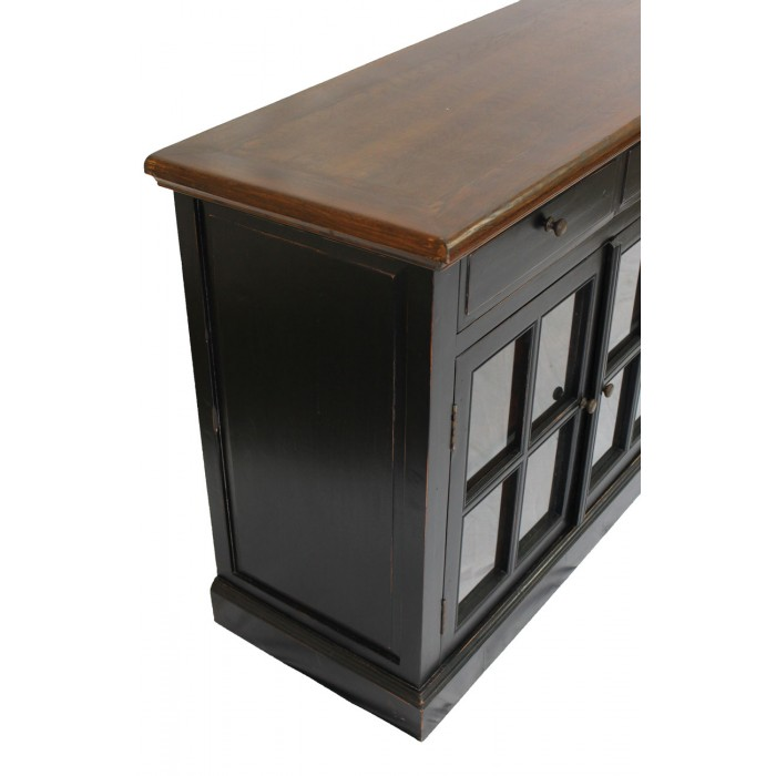 Black sideboard 4 glass doors sd 003 for Sideboard glasfront