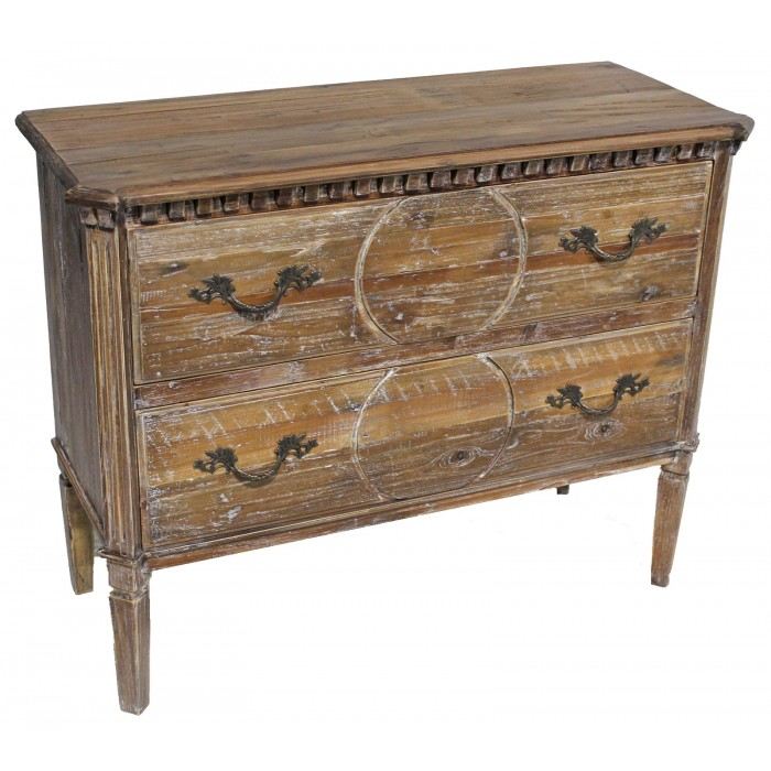 Pine 2 Drawer Carved Chest