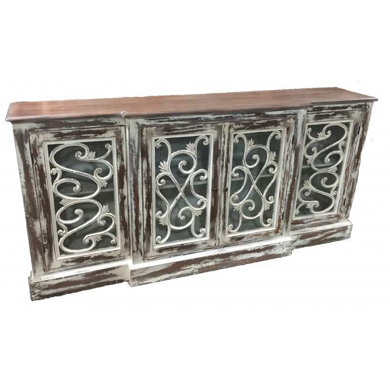White Wash Carved 4-Door Buffet CT7434