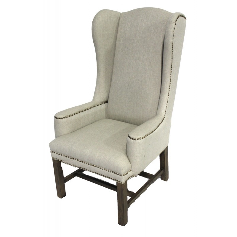 Linen wing back chair tall back dining chair for Wing back dining chairs