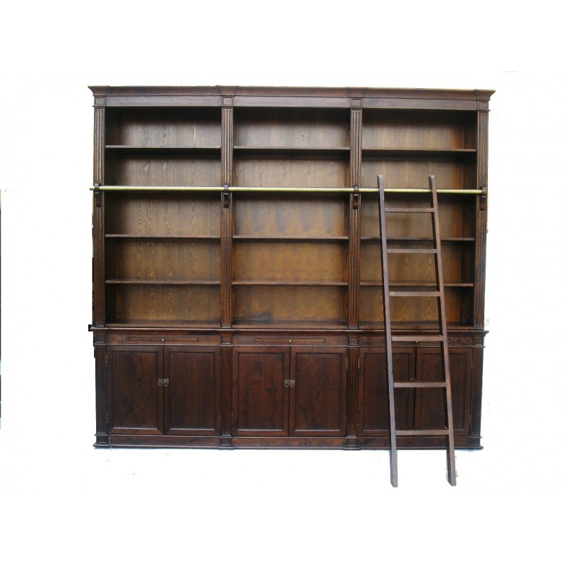 Brown Large Bookcase with Ladder CT7434