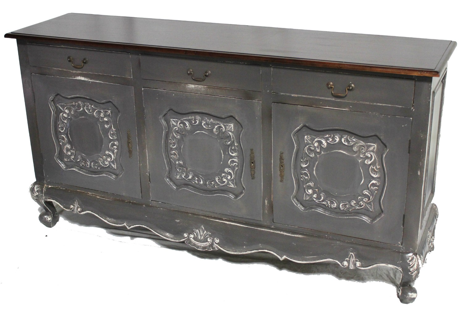 Country french 3 door sideboard black brown white or for French country furniture catalog