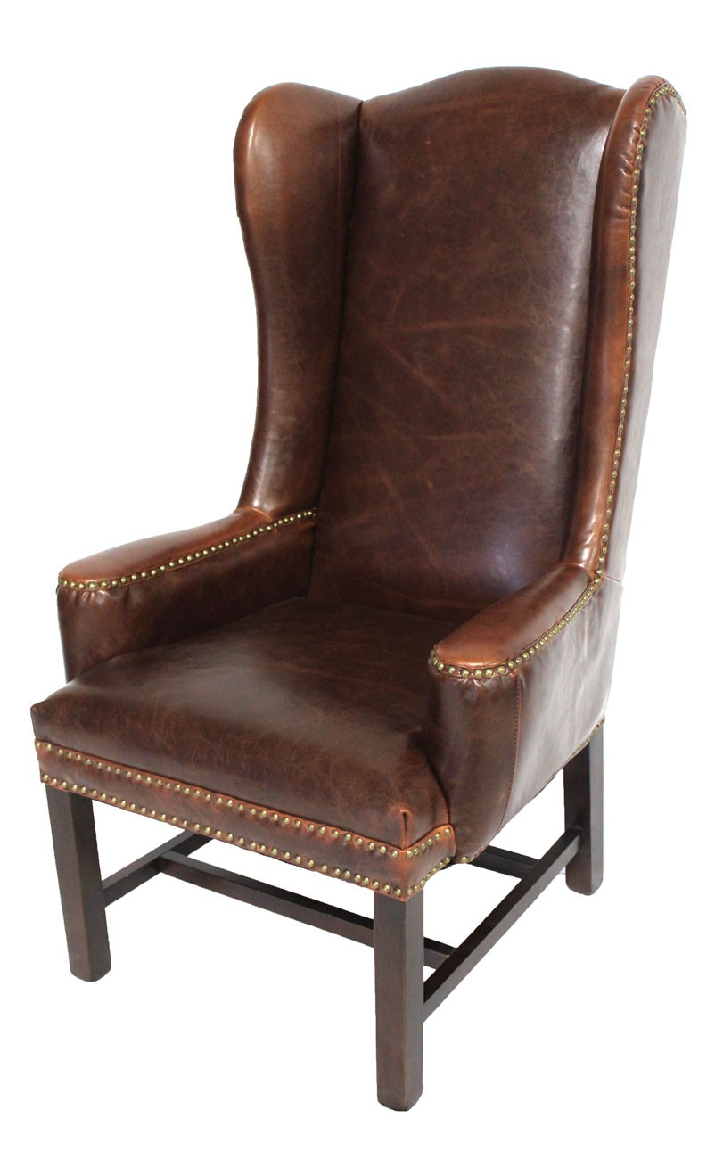 tall leather wing back arm chair dining. Black Bedroom Furniture Sets. Home Design Ideas