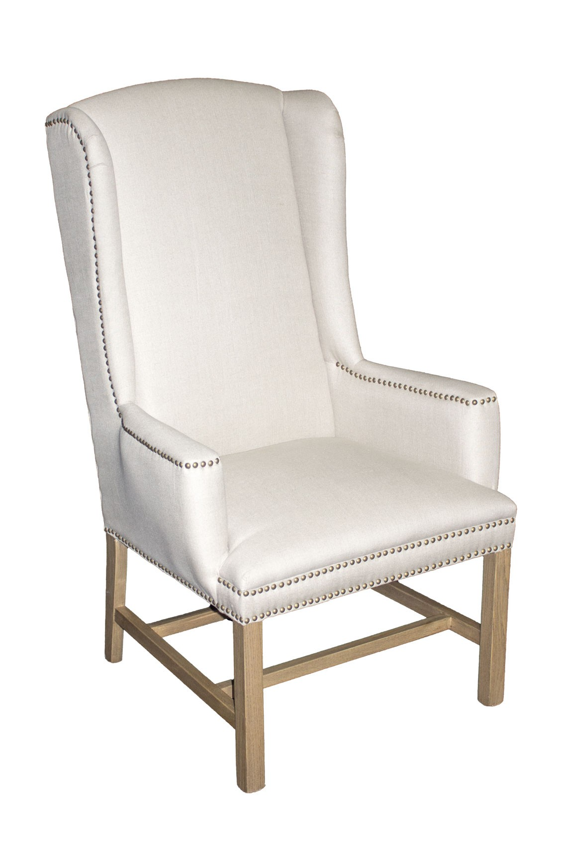 Ic170 linen wing back chair tall back dining chair for Wing back dining chairs