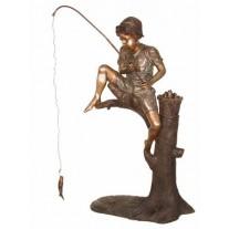 Boy fishing on tree stump fountain