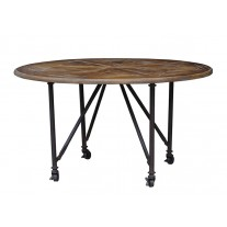 Round Dining Table with Wheels