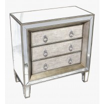 Mirror Linen Drawer Chest
