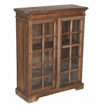 Pine 2-Door Narrow Bookcase