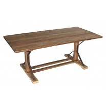Pine Rectangle Dining Table W/ Iron Accents