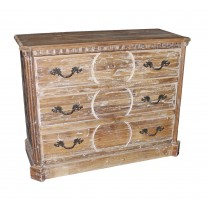 Reclaimed 3-Drawer Carved Chest