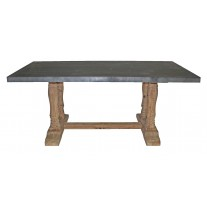 Column Base Zinc Top Dining Table