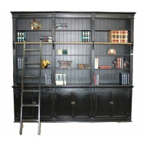 Black Large Bookcase with Ladder