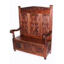 Tall Carved Hall Bench