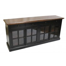 Black Sideboard 4 Glass Doors SD-003