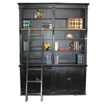 Black Medium Bookcase with Ladder SD-108-R