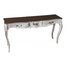 3 drawer console white