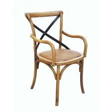 Oak Natural X-Back Arm Chair