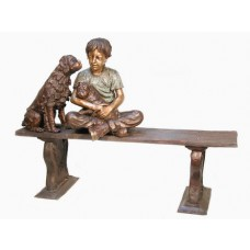 Boy and dogs on bench