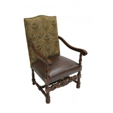 Fabric And Leather Arm Chair
