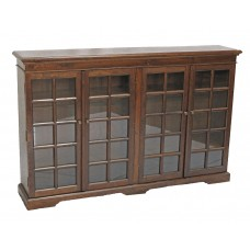 Brown, Distressed Black, Distressed Blue Glass Front Bookcase