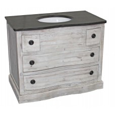 Distressed White Reclaimed 4-Drawer Vanity