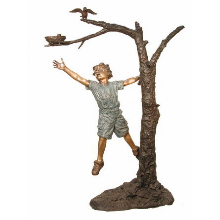 Boy reaching for bird on tree