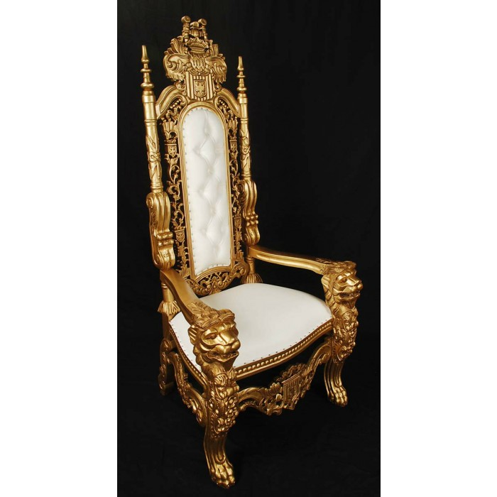 Gold White King Lion Throne Chair Lk 1 Gw