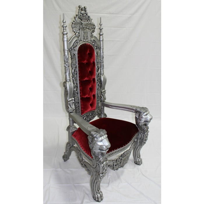 Silver/Red Lion Throne Chair