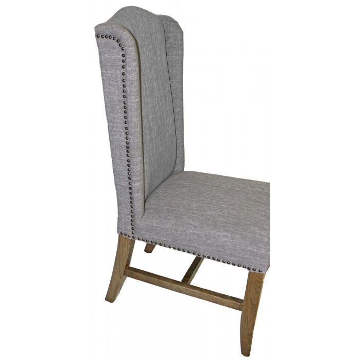 Ic266 Smoke Grey Linen Wing Side Chair