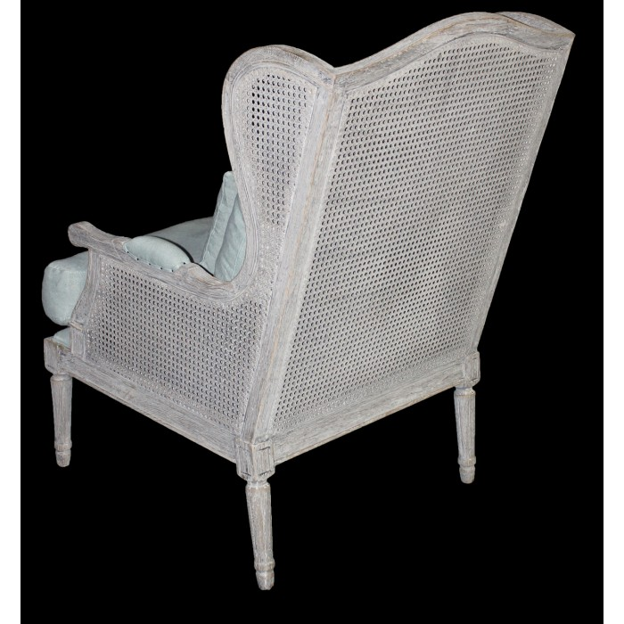Nash Grey Cane Wing Chair