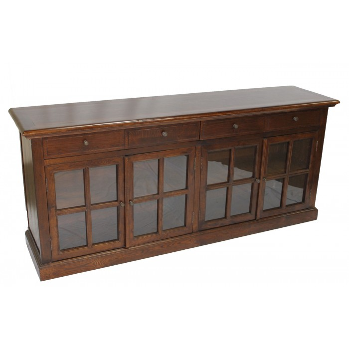 Brown Distressed Blue Sideboard 4 Glass Doors SD-003-1