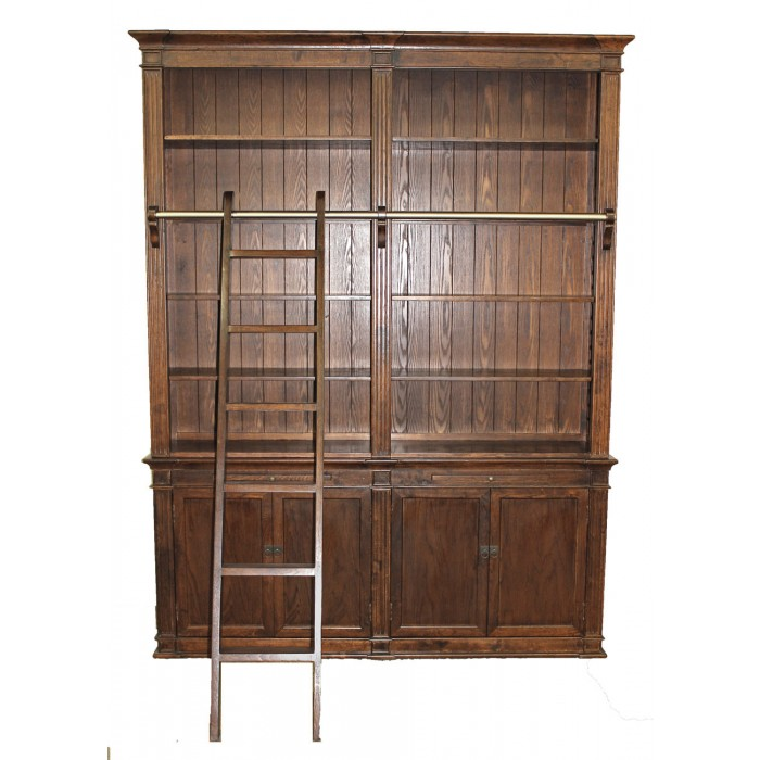 Brown Medium Bookcase with Ladder SD-108-R1