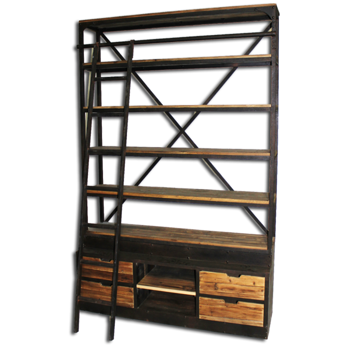 Bookcase with Ladder Natural Reclaimed Pine with Iron TH-136