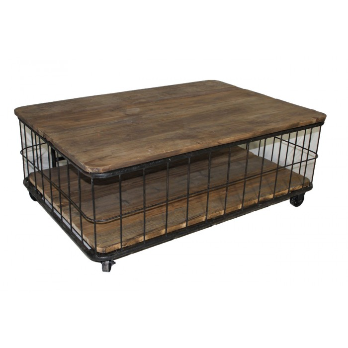 Cage pine coffee table w shelf th 405 for Table th html