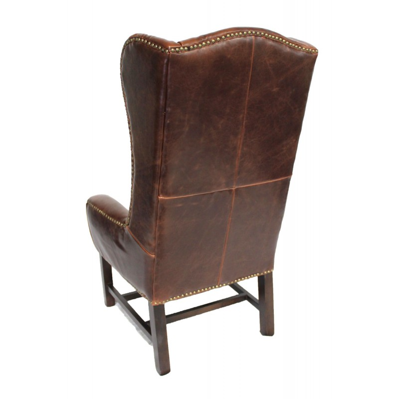 Tall leather wing back arm chair dining for Leather back dining chairs