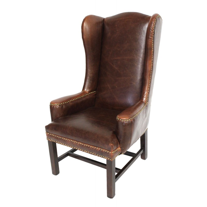 Tall leather wing back arm chair dining for Wing back dining chairs